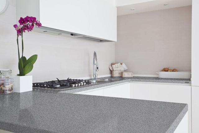 glossy grey quartz bathroom worktop
