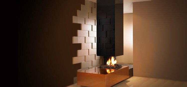 suspended designer fireplace