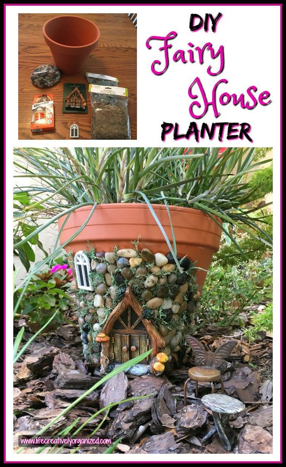 DIY fairy house planter