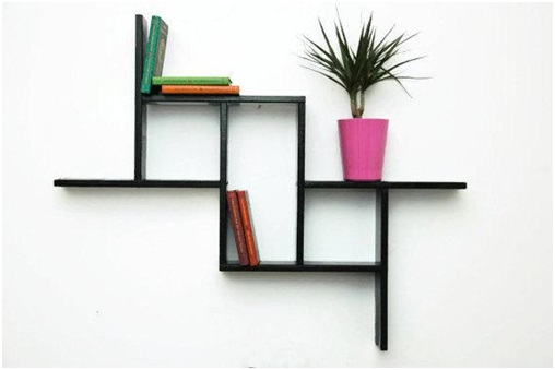 Geometric floating wall shelves