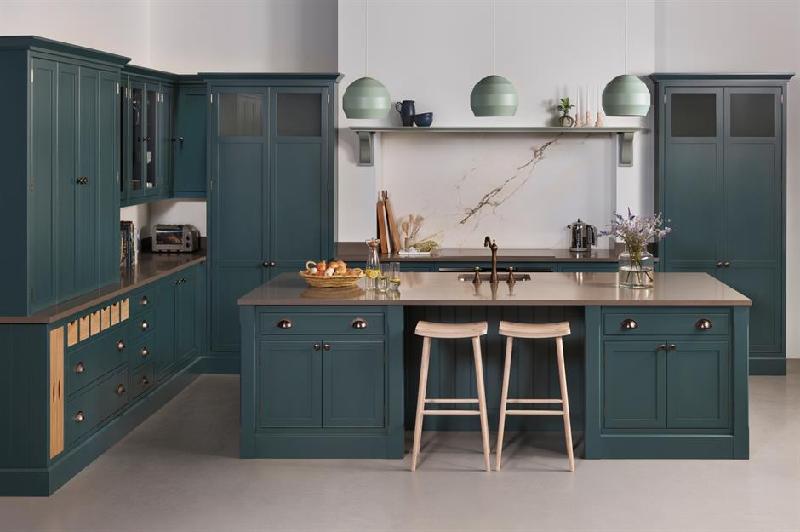 grey-blue kitchen cabinets